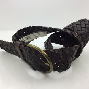 Wide Braided leather slouch Belt Large